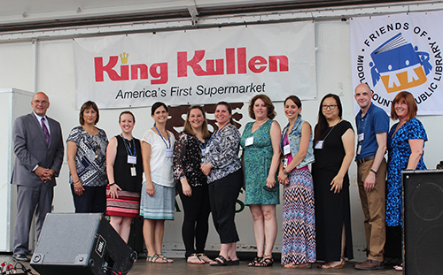 Pictured l-r: King Kullen District Manager Robert Shaw; Michele Martin, Allstate Foundation representative; Kristine Tanzi, teen services coordinator; Tracy LaStella, assistant library director; Michelle Kenney, teen librarian; Rosetta Goddard, teen librarian; Deborah Hempe, outreach coordinator; Kristin Shankles, teen librarian; Sara Fade, teen librarian; Ryan Gessner, assistant library director; Lori Abbatepaolo, grants coordinator.