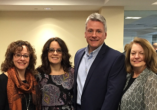 Pictured l-r: Sophia Serlis-McPhillips, director, MCPL; Sol Marie Alfonso-Jones, senior program director and David Okorn, executive director, LICF; and Kathy Deerr, assistant director, MCPL.