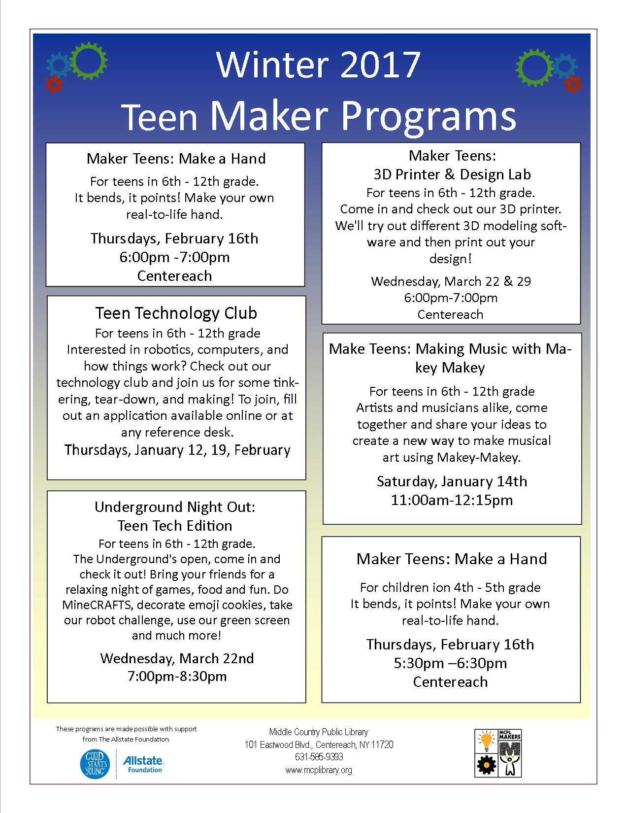 maker flyer 2017 middle country public library maker flyer 2017