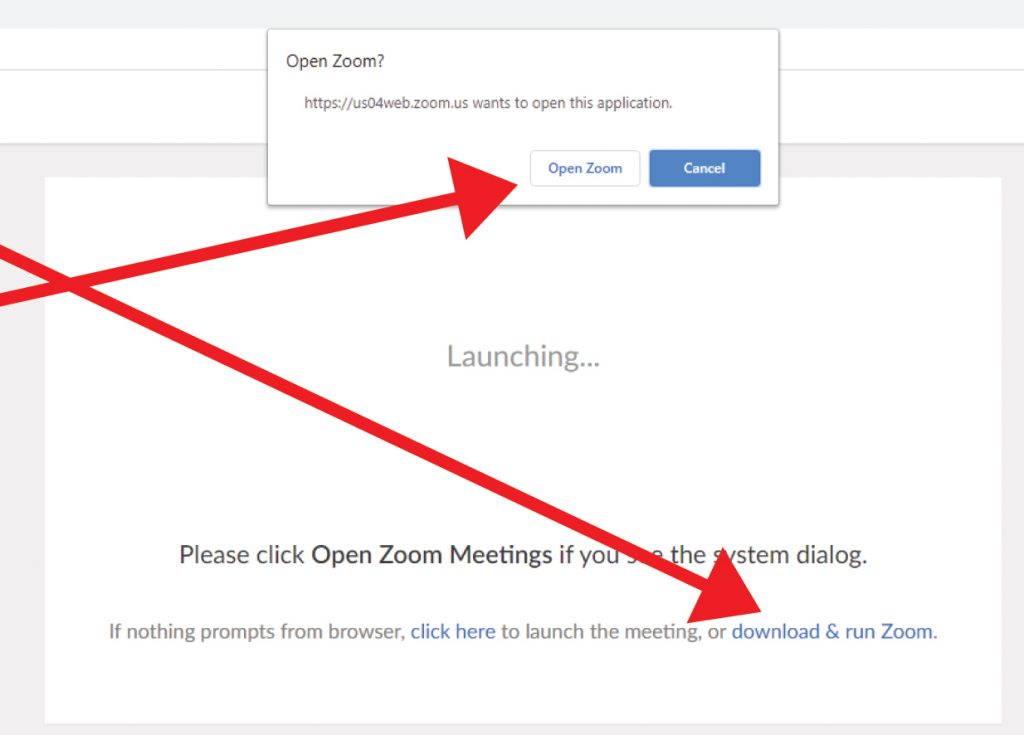 "If you have never used Zoom on your computer before, click ""download & run Zoom"" (it's free!)"