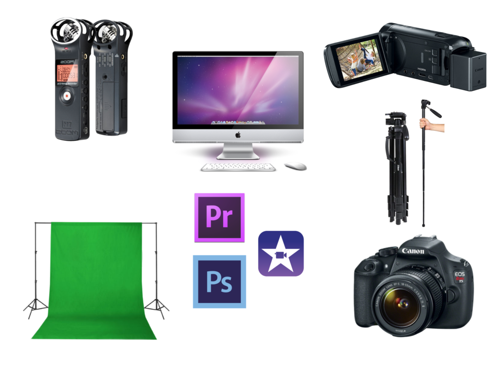 Images of camcorder, green screen, ditigal camera, photoshop log, and tripod.